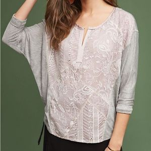 Anthropologie Tiny lace sequin dolman sleeve top